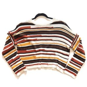 White Crow Cropped abstract striped sweater M